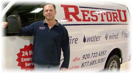 RestorU Restoration Services of Northern Wisconsin for cleanup, restoration, remediation rebuilding after damages from fire, smoke, water, floording, wind, storm, hail damages for Northern Wisconsin, Neenah, Green Bay, Appleton, Menasha, Oshkosh, Park Falls, Wausau WI