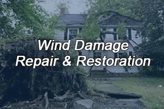 Wind damage, storm damage cleanup remediation restoration rebuilding